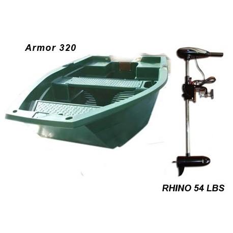 barque Armor 320 + moteur Rhino 54 lbs