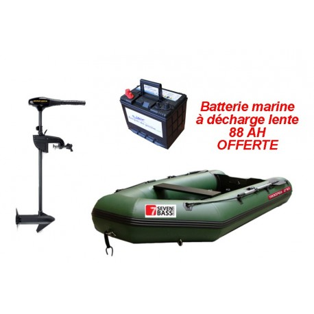 Pack Seven Bass TROOPER 270 + moteur Endura C2V2 55 lbs + batterie marine 88 ah