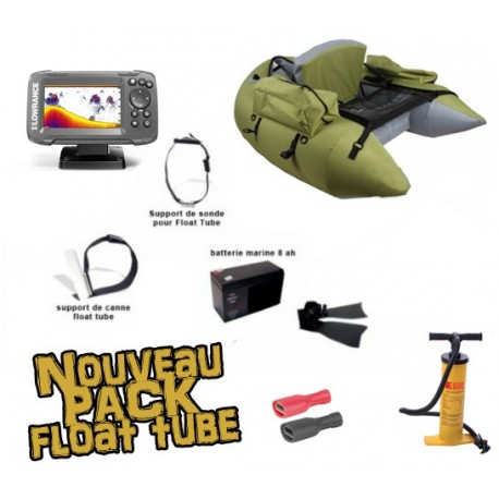 Pack Float tube Float tube Pike'nBass PM vert olive + SONDEUR LOWRANCE HOOK 2 - 4X + accessoires
