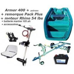 Pack Armor Armor 400 + remorque pack plus + moteur Rhino 54 + batterie marine + accessoires