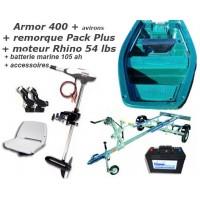 Armor 400 + remorque pack plus + moteur Rhino 54 + batterie marine + accessoires