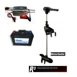 Pack moteurs Pack Motorguide R3 55 lbs + Batterie marine 120 ah + chargeur CTECK