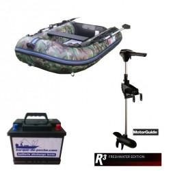 Pack Pneumatique Sun Marine 230 camou + Motorguide R3 40 lbs + Batterie 80 ah